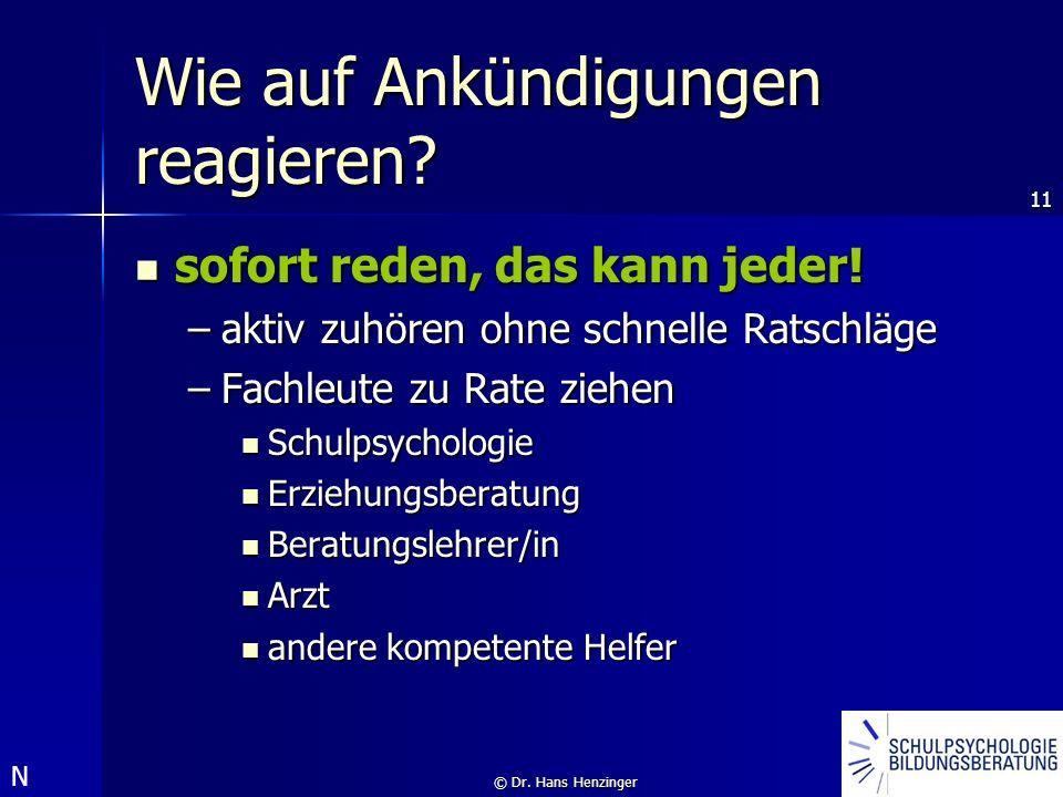 11 © Dr. Hans Henzinger Wie auf Ankündigungen reagieren? sofort reden, das kann jeder! sofort reden, das kann jeder! –aktiv zuhören ohne schnelle Rats