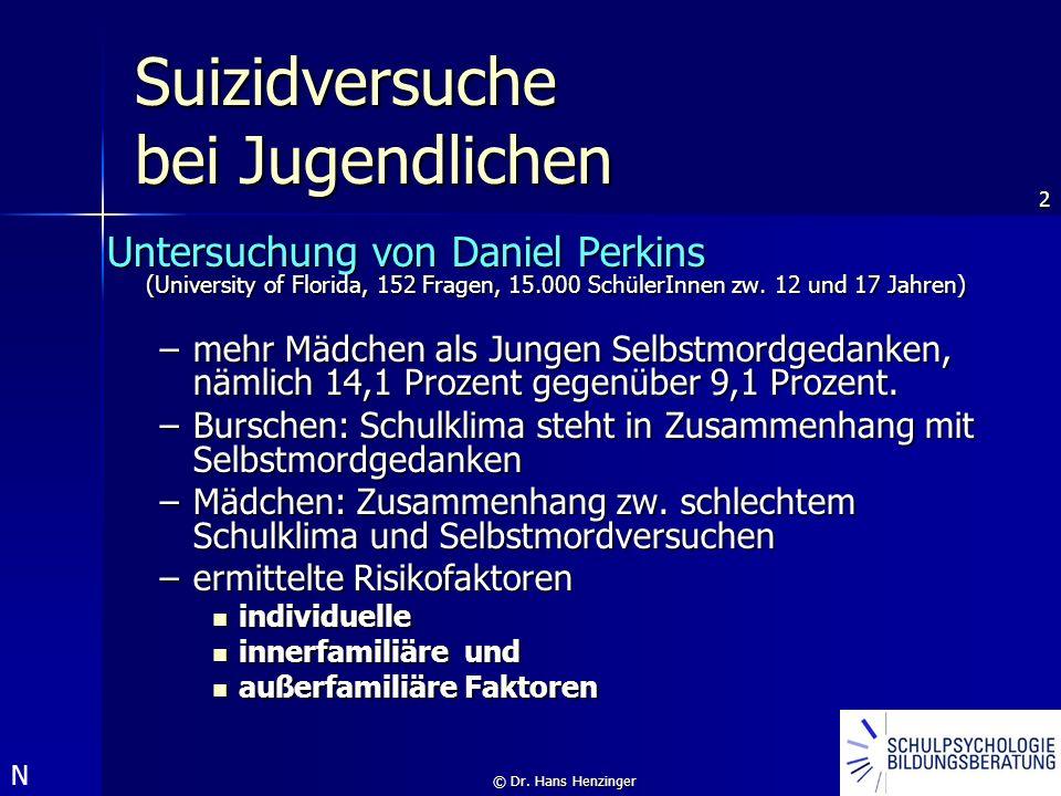 2 © Dr. Hans Henzinger Suizidversuche bei Jugendlichen Untersuchung von Daniel Perkins (University of Florida, 152 Fragen, 15.000 SchülerInnen zw. 12