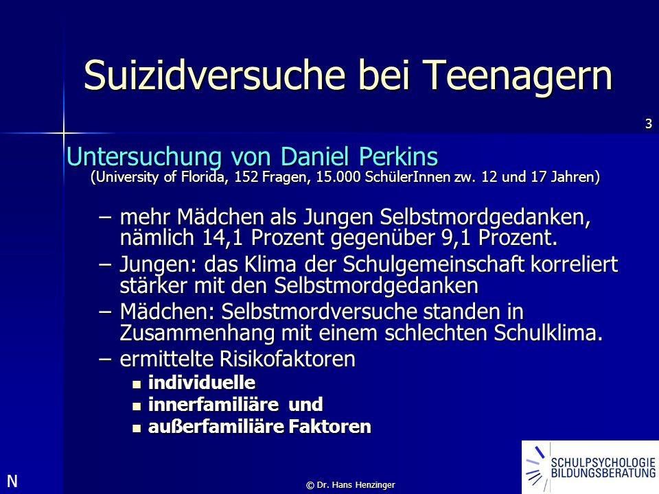 3 © Dr. Hans Henzinger Suizidversuche bei Teenagern Untersuchung von Daniel Perkins (University of Florida, 152 Fragen, 15.000 SchülerInnen zw. 12 und