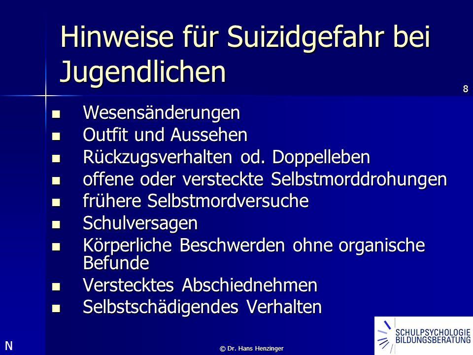 8 © Dr. Hans Henzinger Hinweise für Suizidgefahr bei Jugendlichen Wesensänderungen Wesensänderungen Outfit und Aussehen Outfit und Aussehen Rückzugsve