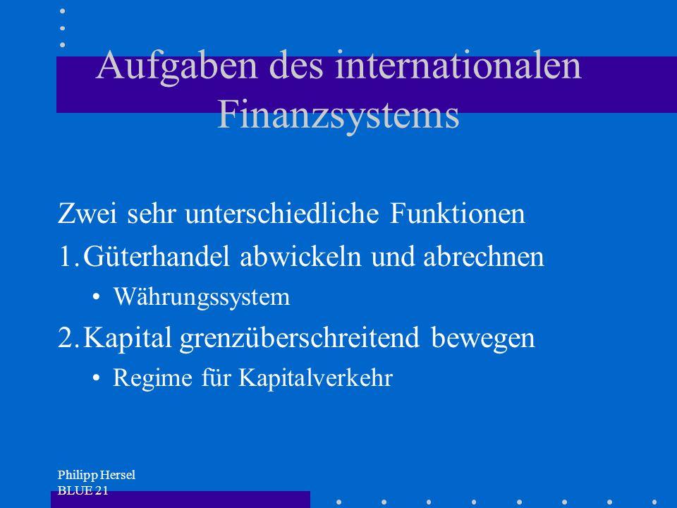 Philipp Hersel BLUE 21 Aufgaben des internationalen Finanzsystems Zwei sehr unterschiedliche Funktionen 1.Güterhandel abwickeln und abrechnen Währungssystem 2.Kapital grenzüberschreitend bewegen Regime für Kapitalverkehr