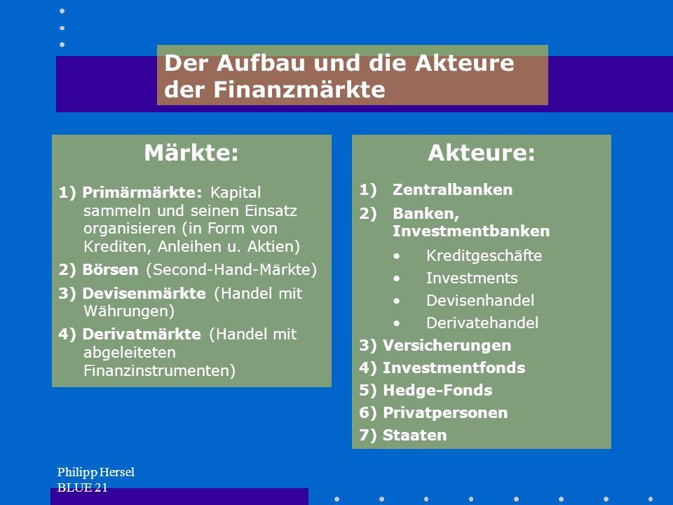 Philipp Hersel BLUE 21 Märkte: 1) Primärmärkte: Kapital sammeln und seinen Einsatz organisieren (in Form von Krediten, Anleihen u.