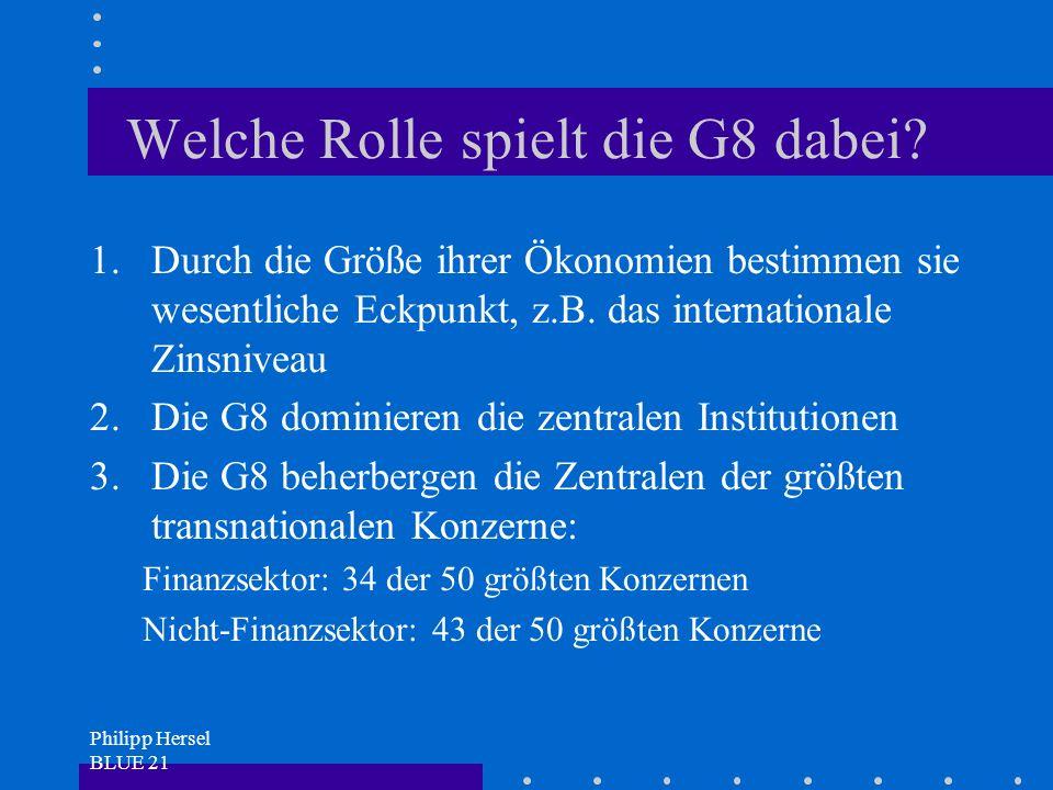 Philipp Hersel BLUE 21 Welche Rolle spielt die G8 dabei.