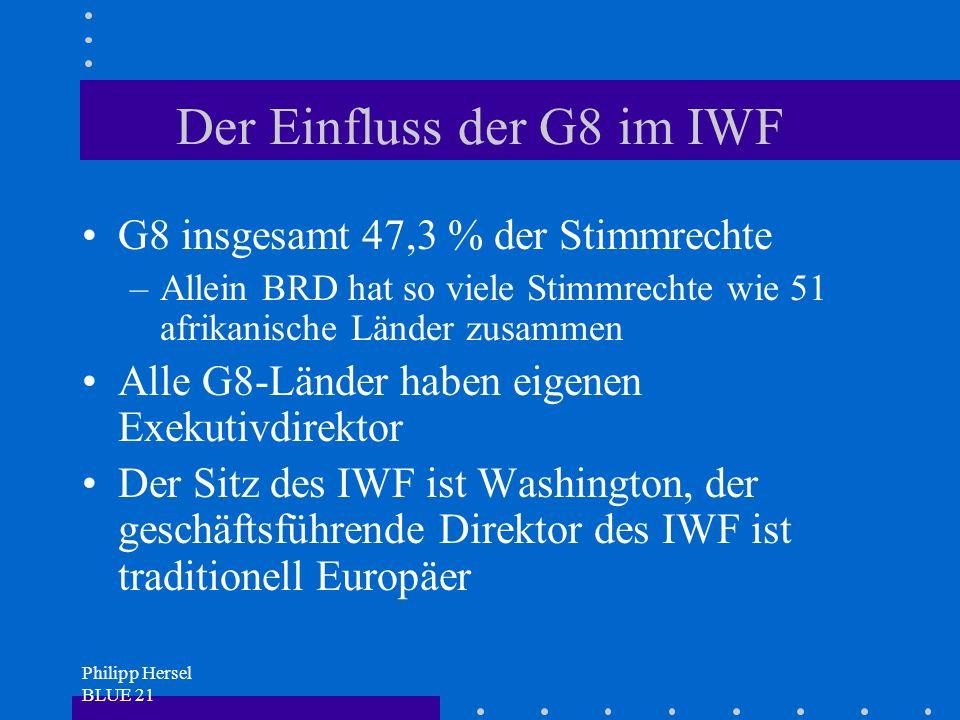 Philipp Hersel BLUE 21 Der Einfluss der G8 im IWF G8 insgesamt 47,3 % der Stimmrechte –Allein BRD hat so viele Stimmrechte wie 51 afrikanische Länder zusammen Alle G8-Länder haben eigenen Exekutivdirektor Der Sitz des IWF ist Washington, der geschäftsführende Direktor des IWF ist traditionell Europäer