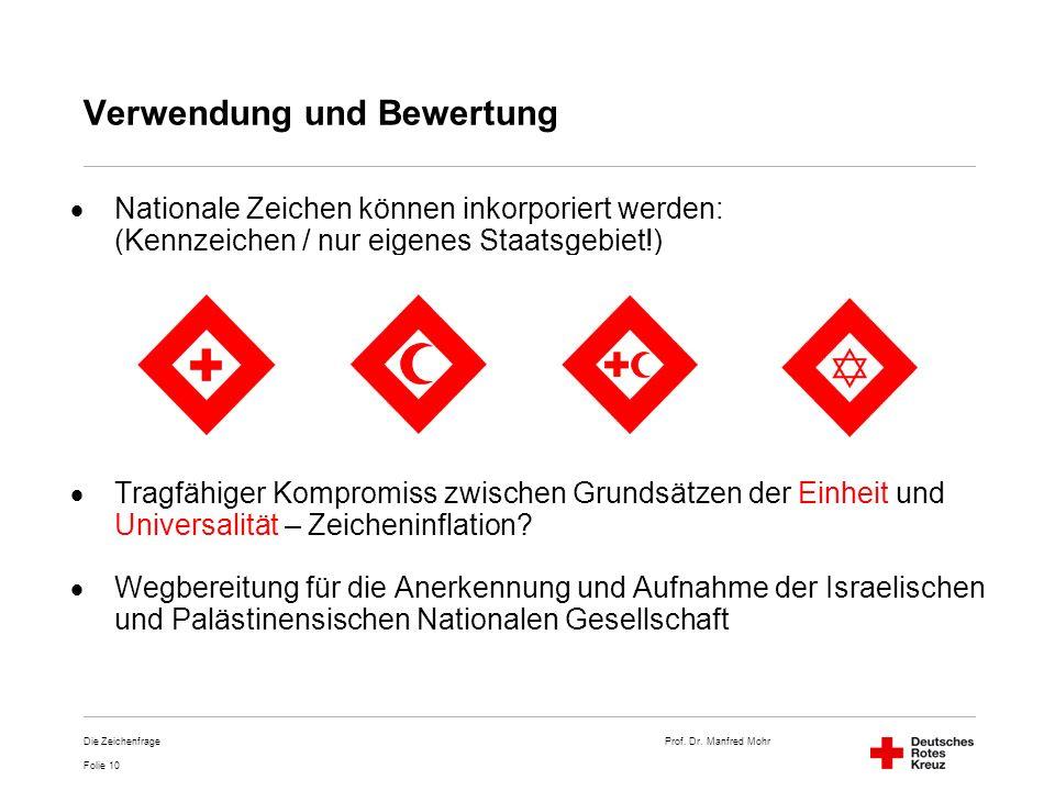 Prof. Dr. Manfred Mohr Folie 10 Die Zeichenfrage Verwendung und Bewertung Nationale Zeichen können inkorporiert werden: (Kennzeichen / nur eigenes Sta