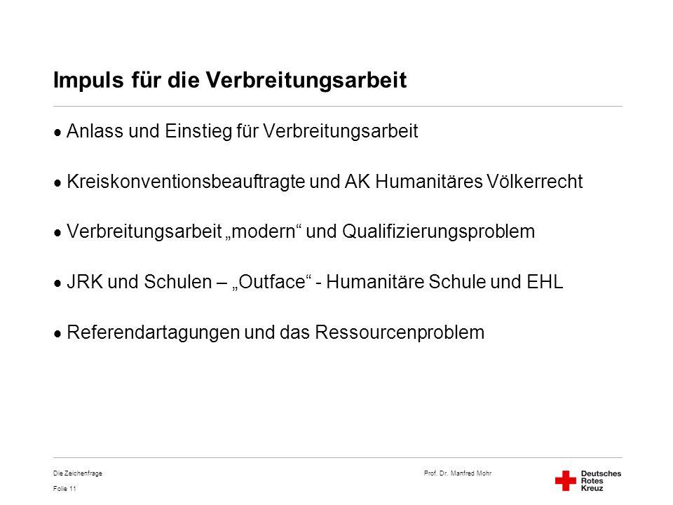 Prof. Dr. Manfred Mohr Folie 11 Die Zeichenfrage Impuls für die Verbreitungsarbeit Anlass und Einstieg für Verbreitungsarbeit Kreiskonventionsbeauftra