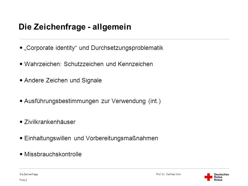 Prof. Dr. Manfred Mohr Folie 2 Die Zeichenfrage Die Zeichenfrage - allgemein Corporate identity und Durchsetzungsproblematik Wahrzeichen: Schutzzeiche