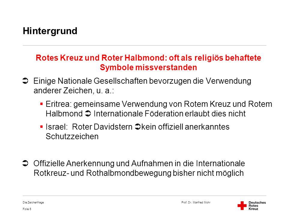 Prof. Dr. Manfred Mohr Folie 6 Die Zeichenfrage Hintergrund Rotes Kreuz und Roter Halbmond: oft als religiös behaftete Symbole missverstanden Einige N