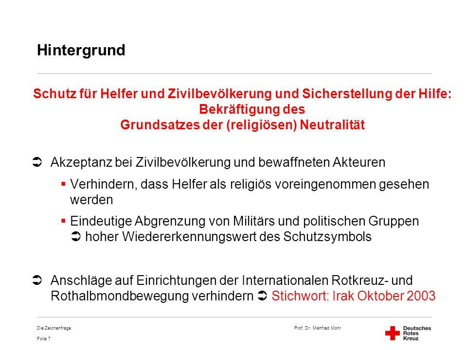 Prof. Dr. Manfred Mohr Folie 7 Die Zeichenfrage Hintergrund Schutz für Helfer und Zivilbevölkerung und Sicherstellung der Hilfe: Bekräftigung des Grun