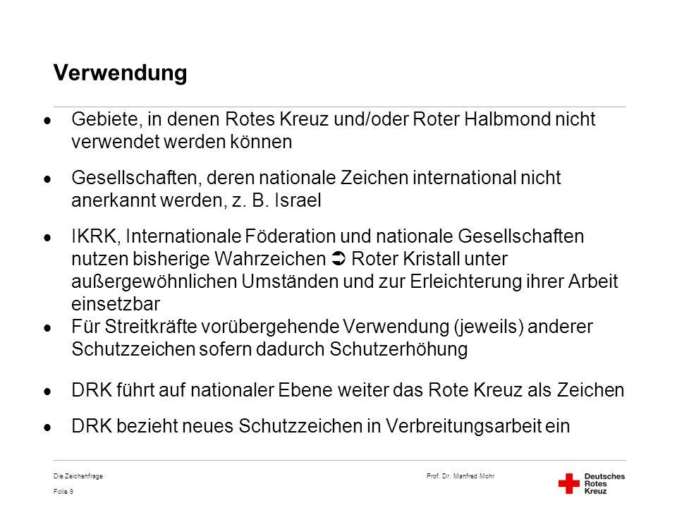 Prof. Dr. Manfred Mohr Folie 9 Die Zeichenfrage Verwendung Gebiete, in denen Rotes Kreuz und/oder Roter Halbmond nicht verwendet werden können Gesells