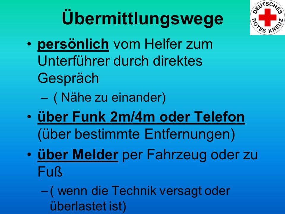 Übermittlungswege persönlich vom Helfer zum Unterführer durch direktes Gespräch – ( Nähe zu einander) über Funk 2m/4m oder Telefon (über bestimmte Ent