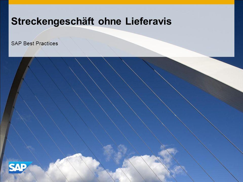 Streckengeschäft ohne Lieferavis SAP Best Practices