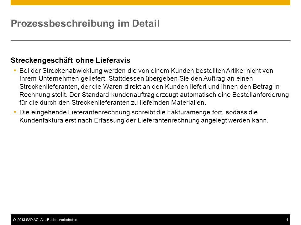 ©2013 SAP AG. Alle Rechte vorbehalten.4 Prozessbeschreibung im Detail Streckengeschäft ohne Lieferavis Bei der Streckenabwicklung werden die von einem