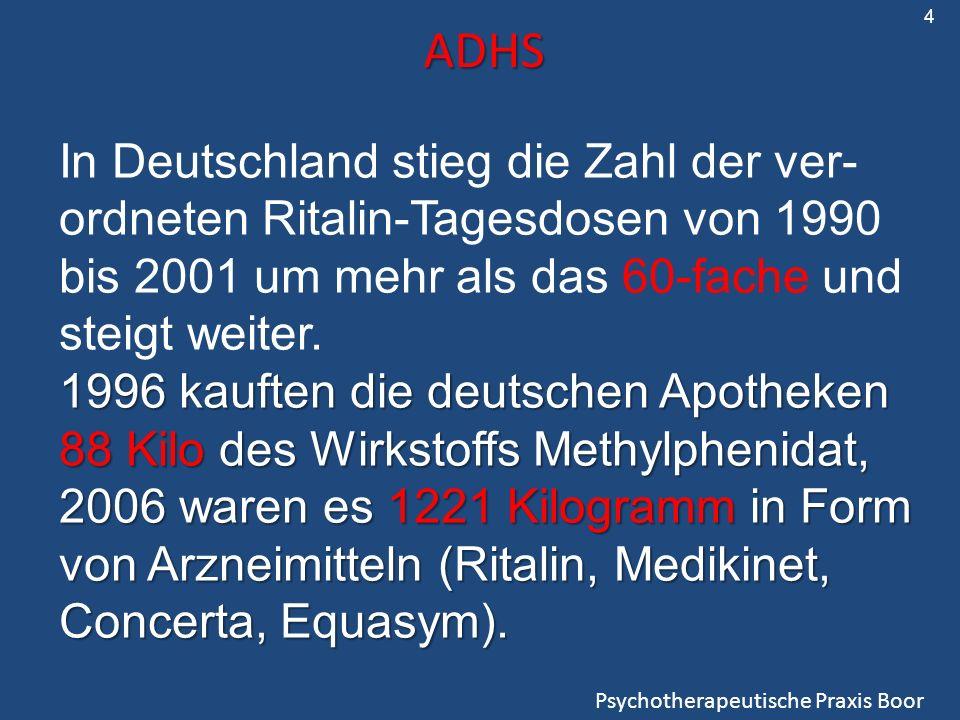ADHS Psychotherapeutische Praxis Boor In Deutschland stieg die Zahl der ver- ordneten Ritalin-Tagesdosen von 1990 bis 2001 um mehr als das 60-fache und steigt weiter.