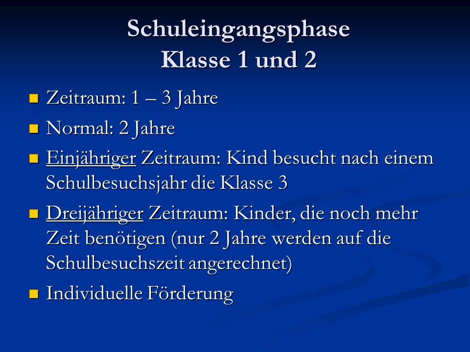 Schuleingangsphase Klasse 1 und 2 Zeitraum: 1 – 3 Jahre Zeitraum: 1 – 3 Jahre Normal: 2 Jahre Normal: 2 Jahre Einjähriger Zeitraum: Kind besucht nach