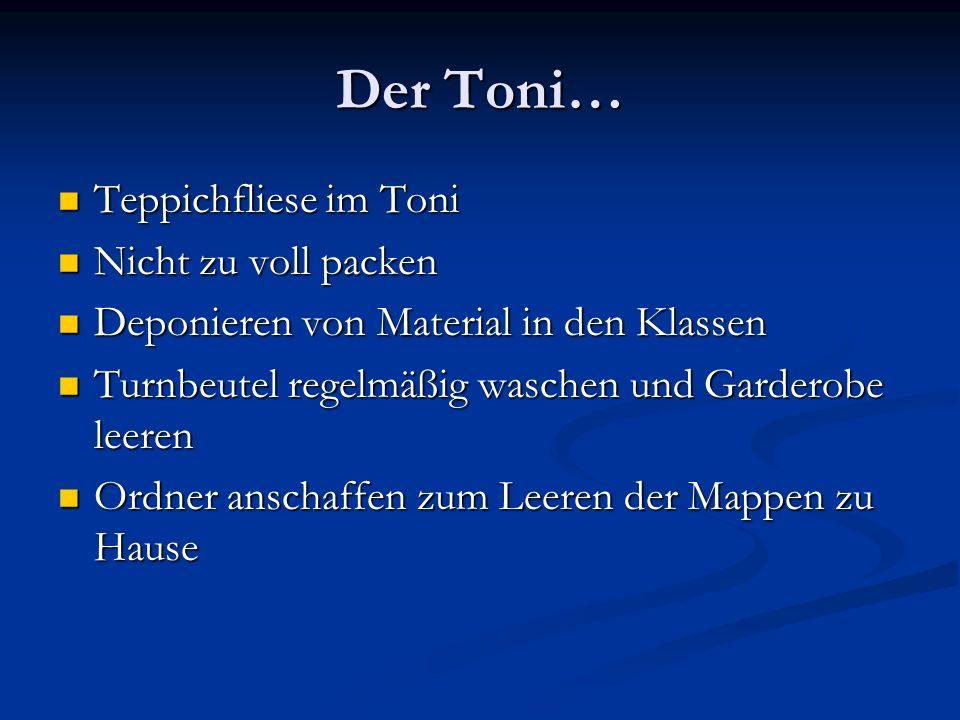 Der Toni… Teppichfliese im Toni Teppichfliese im Toni Nicht zu voll packen Nicht zu voll packen Deponieren von Material in den Klassen Deponieren von