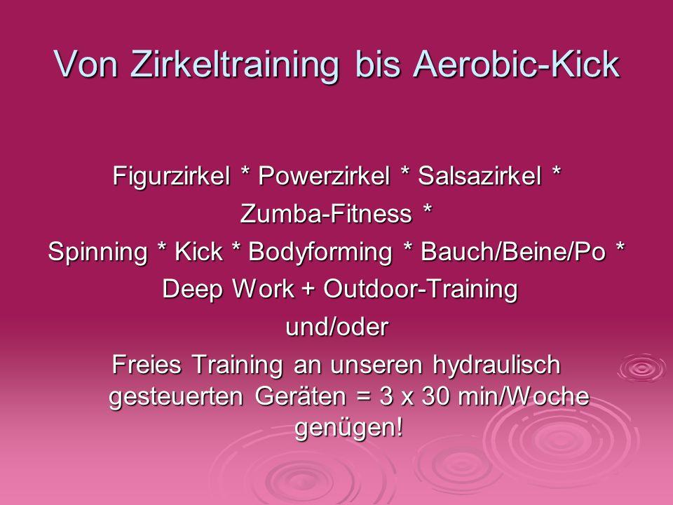 Von Zirkeltraining bis Aerobic-Kick Figurzirkel * Powerzirkel * Salsazirkel * Zumba-Fitness * Spinning * Kick * Bodyforming * Bauch/Beine/Po * Deep Wo