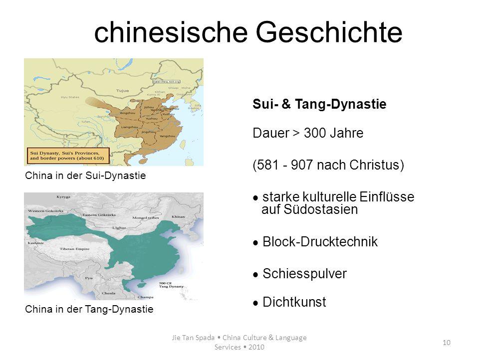 Jie Tan Spada China Culture & Language Services 2010 10 Sui- & Tang-Dynastie Dauer > 300 Jahre (581 - 907 nach Christus) starke kulturelle Einflüsse a