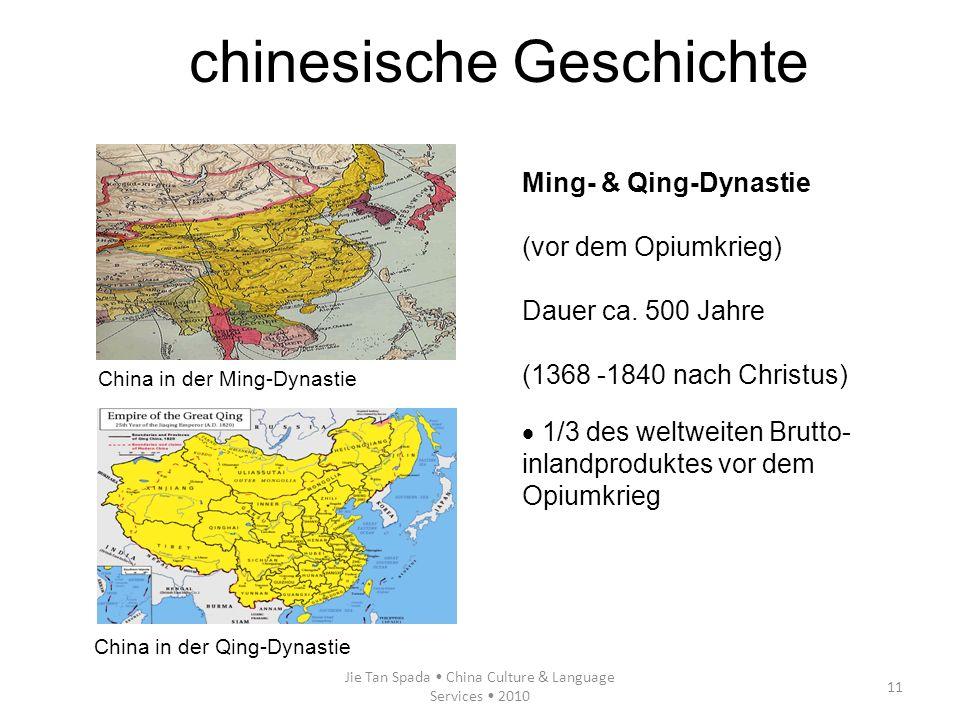 Jie Tan Spada China Culture & Language Services 2010 11 Ming- & Qing-Dynastie (vor dem Opiumkrieg) Dauer ca. 500 Jahre (1368 -1840 nach Christus) 1/3