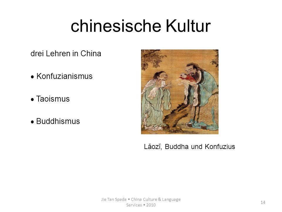 Jie Tan Spada China Culture & Language Services 2010 14 chinesische Kultur drei Lehren in China Konfuzianismus Taoismus Buddhismus Lǎozǐ, Buddha und K