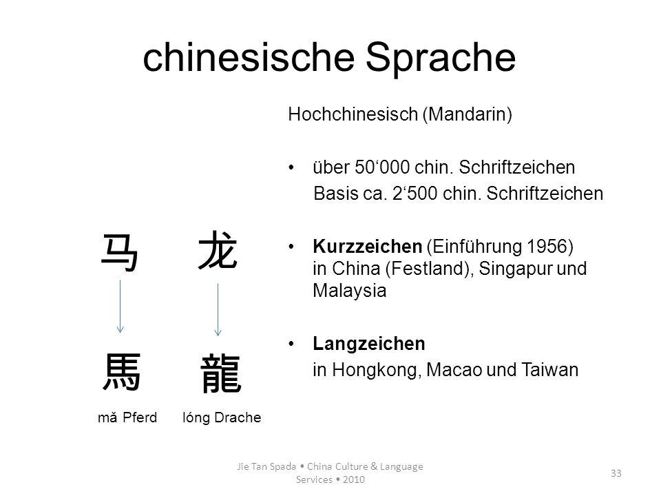 Jie Tan Spada China Culture & Language Services 2010 33 Hochchinesisch (Mandarin) über 50000 chin. Schriftzeichen Basis ca. 2500 chin. Schriftzeichen