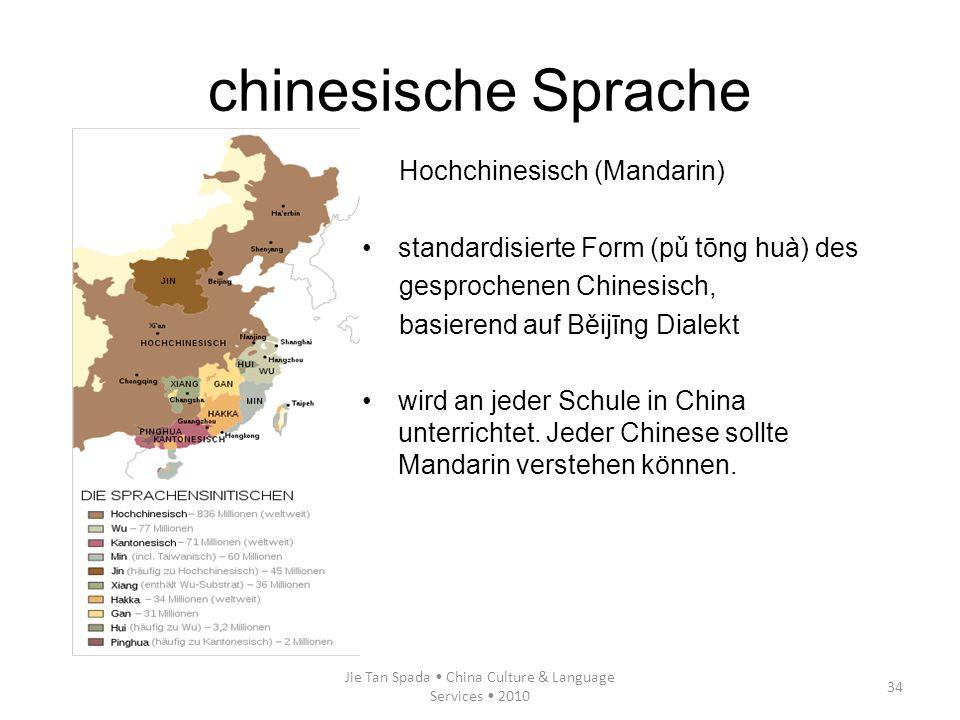 Jie Tan Spada China Culture & Language Services 2010 34 Hochchinesisch (Mandarin) standardisierte Form (pǔ tōng huà) des gesprochenen Chinesisch, basi