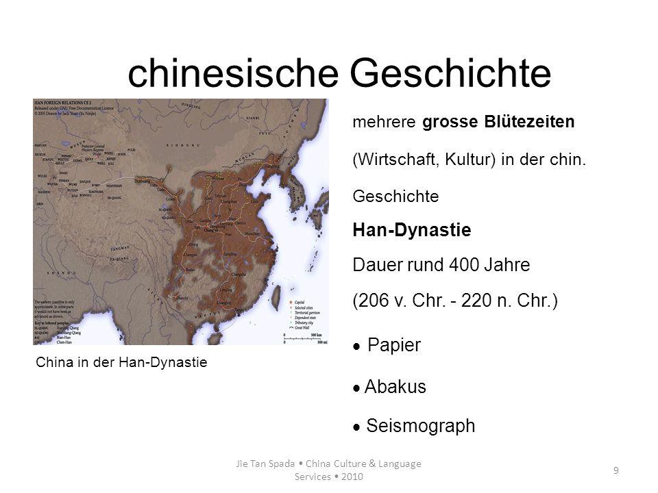Jie Tan Spada China Culture & Language Services 2010 9 mehrere grosse Blütezeiten (Wirtschaft, Kultur) in der chin. Geschichte Han-Dynastie Dauer rund