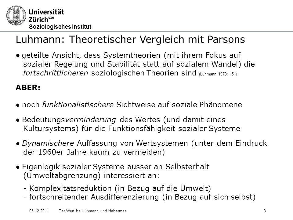 Soziologisches Institut 05.12.2011Der Wert bei Luhmann und Habermas14 Luhmann: Soziale Systeme - Struktur und Zeit (1984) 1.