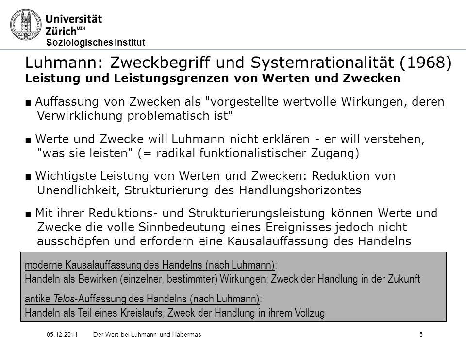 Soziologisches Institut 05.12.2011Der Wert bei Luhmann und Habermas16 Luhmann: Soziale Systeme - Struktur und Zeit (1984) 3.