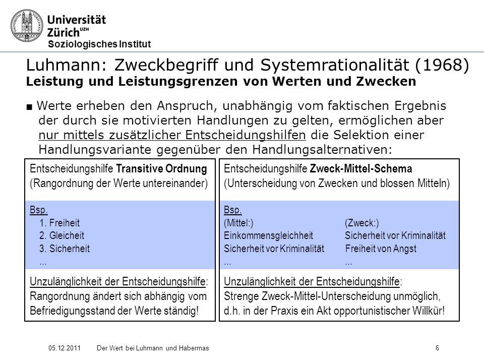 Soziologisches Institut 05.12.2011Der Wert bei Luhmann und Habermas17 Luhmann: Soziale Systeme - Struktur und Zeit (1984) 4.
