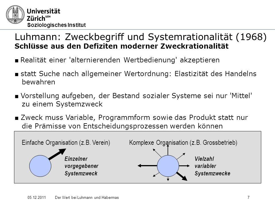 Soziologisches Institut 05.12.2011Der Wert bei Luhmann und Habermas18 Luhmann: Soziale Systeme - Struktur und Zeit (1984) Entwicklungstendenz bei den vier Erwartungsbündelungen (Werte sind somit beweglicher geworden, weil das Gewicht einer essentiellen Funktion für das Sozialsystem weniger auf ihnen lastet als auch schon.) 4.