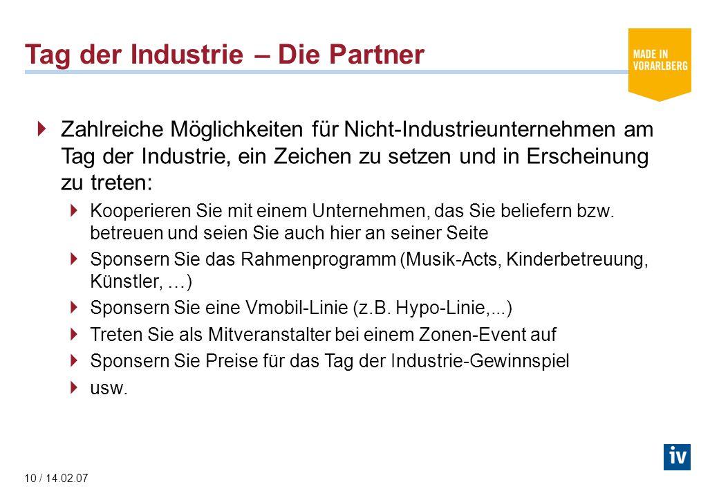 10 / 14.02.07 Tag der Industrie – Die Partner Zahlreiche Möglichkeiten für Nicht-Industrieunternehmen am Tag der Industrie, ein Zeichen zu setzen und in Erscheinung zu treten: Kooperieren Sie mit einem Unternehmen, das Sie beliefern bzw.