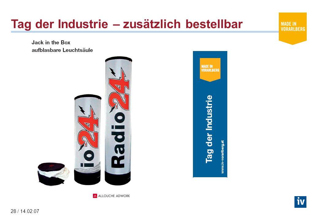 28 / 14.02.07 Tag der Industrie – zusätzlich bestellbar www.iv-vorarlberg.at