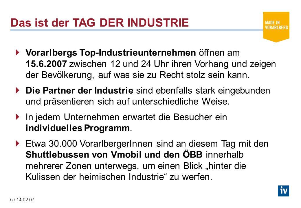 5 / 14.02.07 Das ist der TAG DER INDUSTRIE Vorarlbergs Top-Industrieunternehmen öffnen am 15.6.2007 zwischen 12 und 24 Uhr ihren Vorhang und zeigen der Bevölkerung, auf was sie zu Recht stolz sein kann.