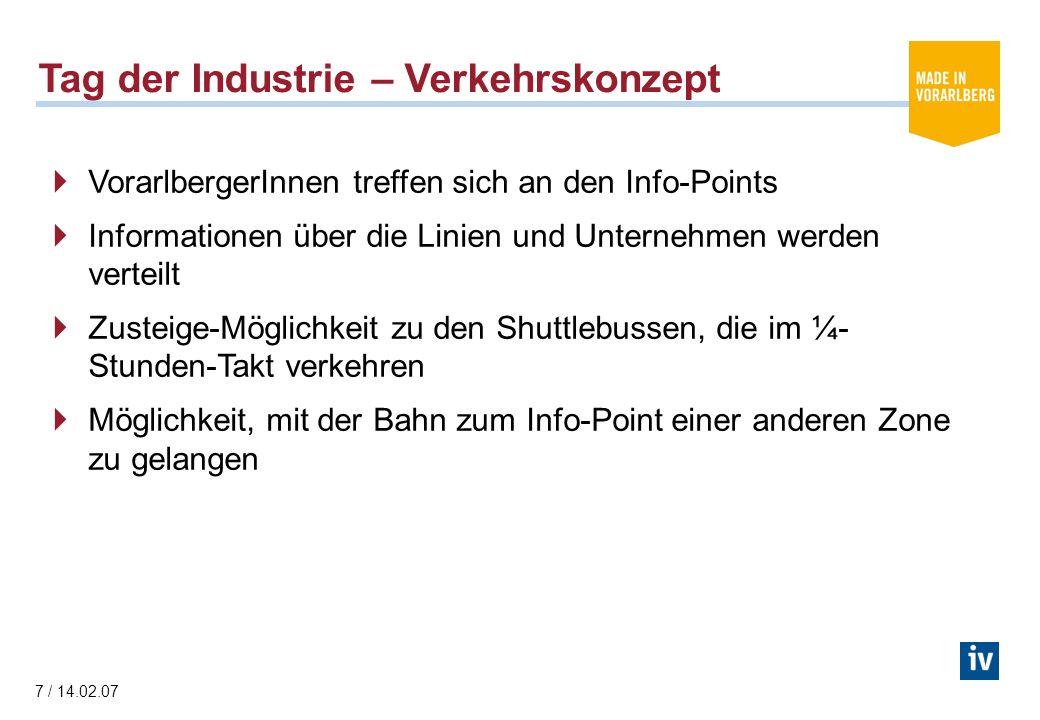 7 / 14.02.07 Tag der Industrie – Verkehrskonzept VorarlbergerInnen treffen sich an den Info-Points Informationen über die Linien und Unternehmen werden verteilt Zusteige-Möglichkeit zu den Shuttlebussen, die im ¼- Stunden-Takt verkehren Möglichkeit, mit der Bahn zum Info-Point einer anderen Zone zu gelangen