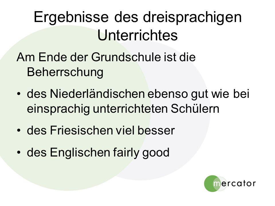 Ergebnisse des dreisprachigen Unterrichtes Am Ende der Grundschule ist die Beherrschung des Niederländischen ebenso gut wie bei einsprachig unterrichteten Schülern des Friesischen viel besser des Englischen fairly good