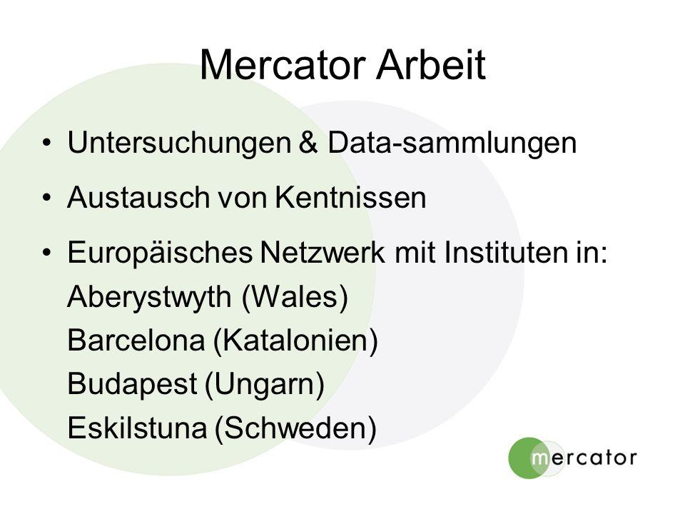 Mercator Arbeit Untersuchungen & Data-sammlungen Austausch von Kentnissen Europäisches Netzwerk mit Instituten in: Aberystwyth (Wales) Barcelona (Katalonien) Budapest (Ungarn) Eskilstuna (Schweden)