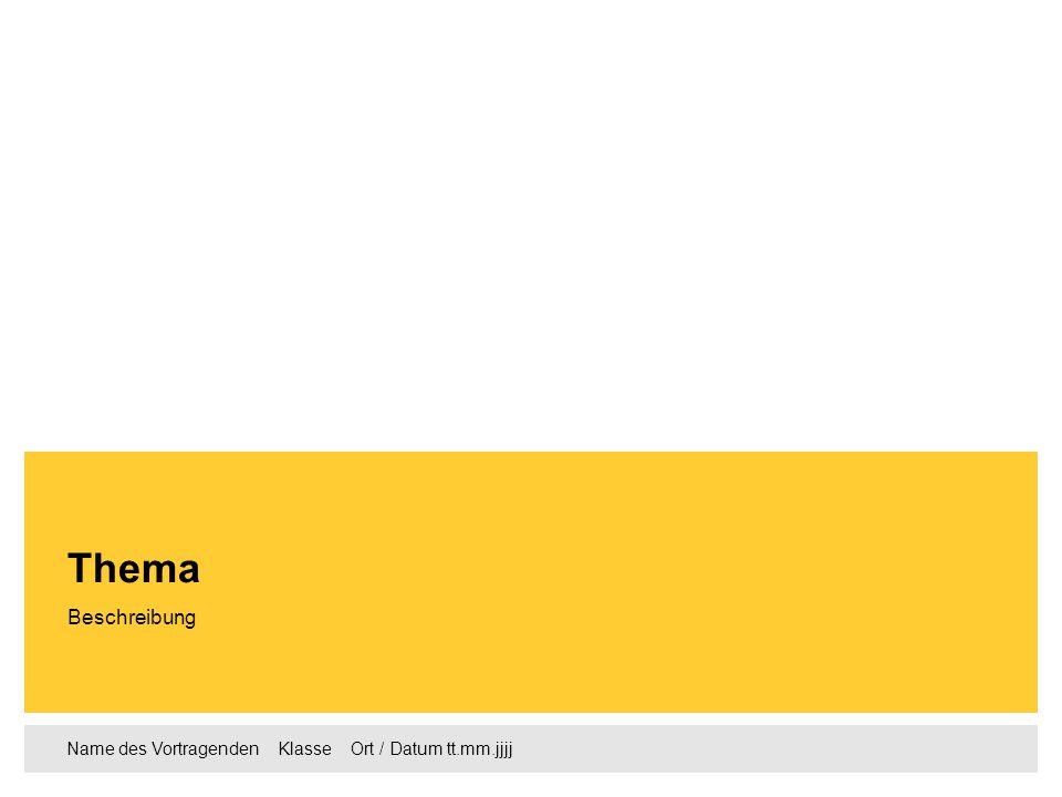 Name des Vortragenden Klasse Ort / Datum tt.mm.jjjj Beschreibung Thema