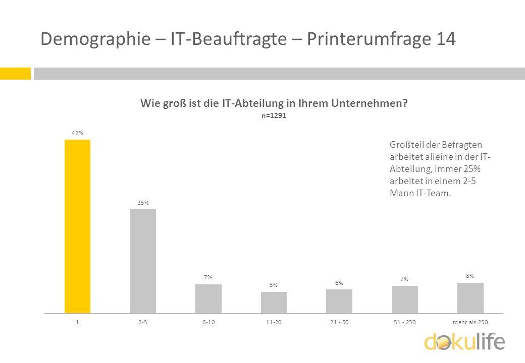 Demographie – IT-Beauftragte – Printerumfrage 14 Großteil der Befragten arbeitet alleine in der IT- Abteilung, immer 25% arbeitet in einem 2-5 Mann IT