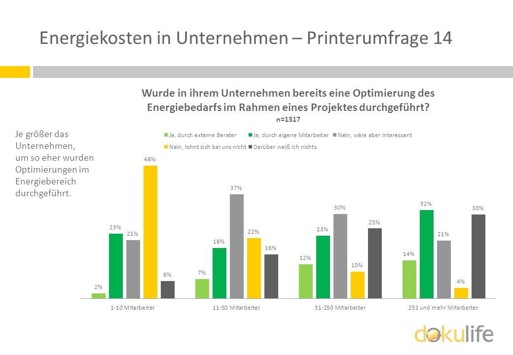 Energiekosten in Unternehmen – Printerumfrage 14 Je größer das Unternehmen, um so eher wurden Optimierungen im Energiebereich durchgeführt.