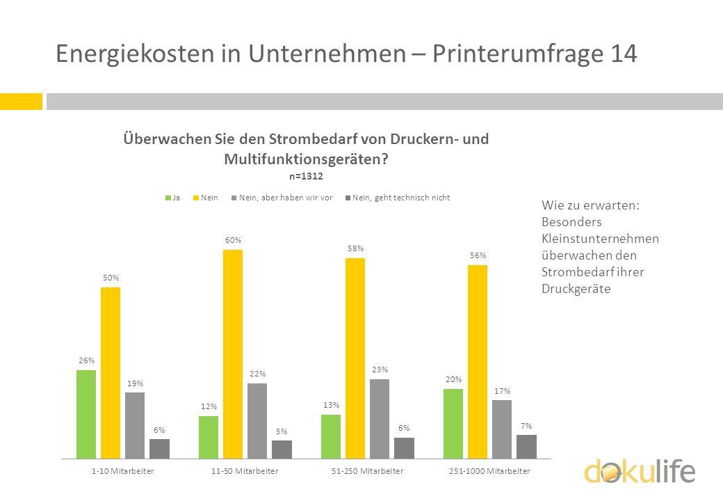Energiekosten in Unternehmen – Printerumfrage 14 Wie zu erwarten: Besonders Kleinstunternehmen überwachen den Strombedarf ihrer Druckgeräte