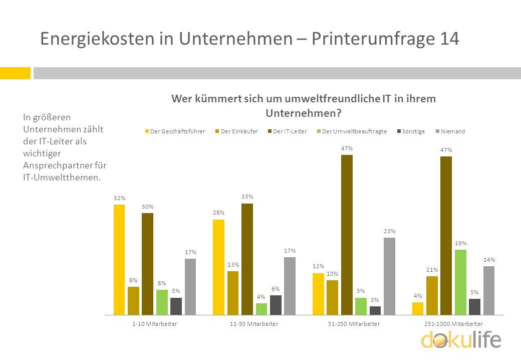 Energiekosten in Unternehmen – Printerumfrage 14 In größeren Unternehmen zählt der IT-Leiter als wichtiger Ansprechpartner für IT-Umweltthemen.