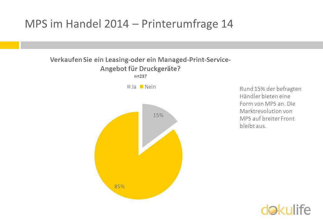 MPS im Handel 2014 – Printerumfrage 14 Rund 15% der befragten Händler bieten eine Form von MPS an. Die Marktrevolution von MPS auf breiter Front bleib