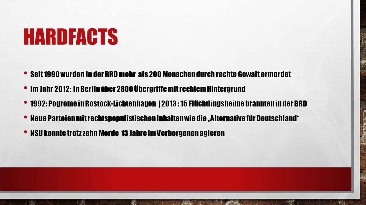 HARDFACTS Seit 1990 wurden in der BRD mehr als 200 Menschen durch rechte Gewalt ermordet Im Jahr 2012: in Berlin über 2800 Übergriffe mit rechtem Hint