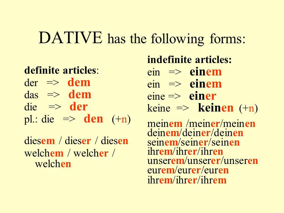 Nominativ (subject) Akkusativ (direct object) Dativ (indirect object) Prädikat (conjugated verb) Sie zeigt dem Mann die Wohnung Nom. PrDativ Akk Ich s