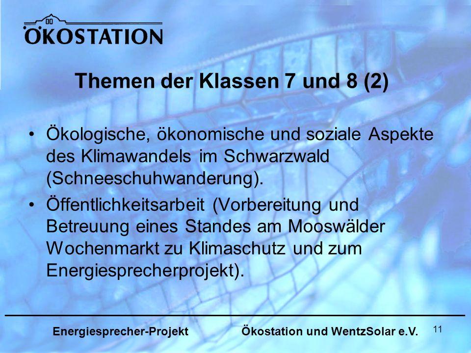 11 Themen der Klassen 7 und 8 (2) Ökologische, ökonomische und soziale Aspekte des Klimawandels im Schwarzwald (Schneeschuhwanderung).