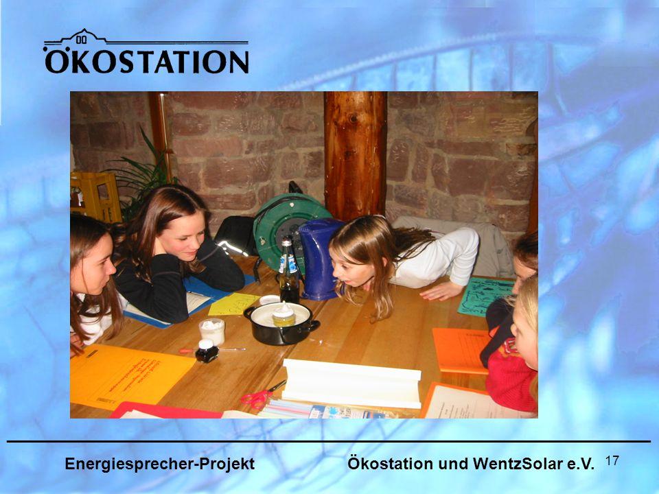 17 _______________________________________________________________ Energiesprecher-Projekt Ökostation und WentzSolar e.V.
