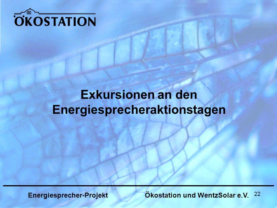 22 Exkursionen an den Energiesprecheraktionstagen _______________________________________________________________ Energiesprecher-Projekt Ökostation und WentzSolar e.V.