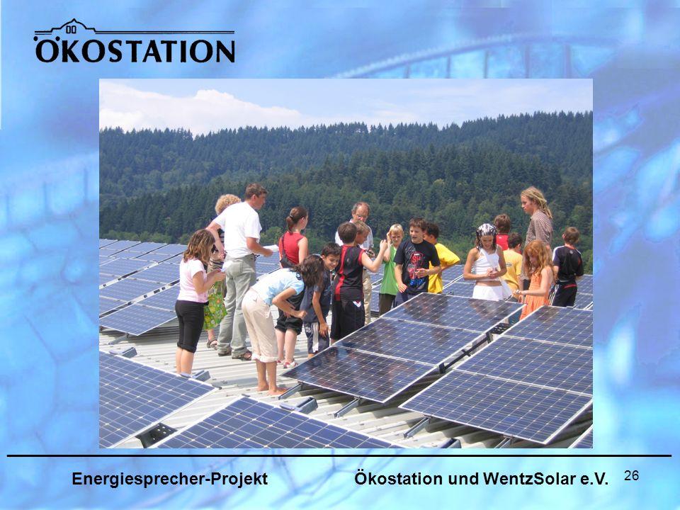 26 _______________________________________________________________ Energiesprecher-Projekt Ökostation und WentzSolar e.V.