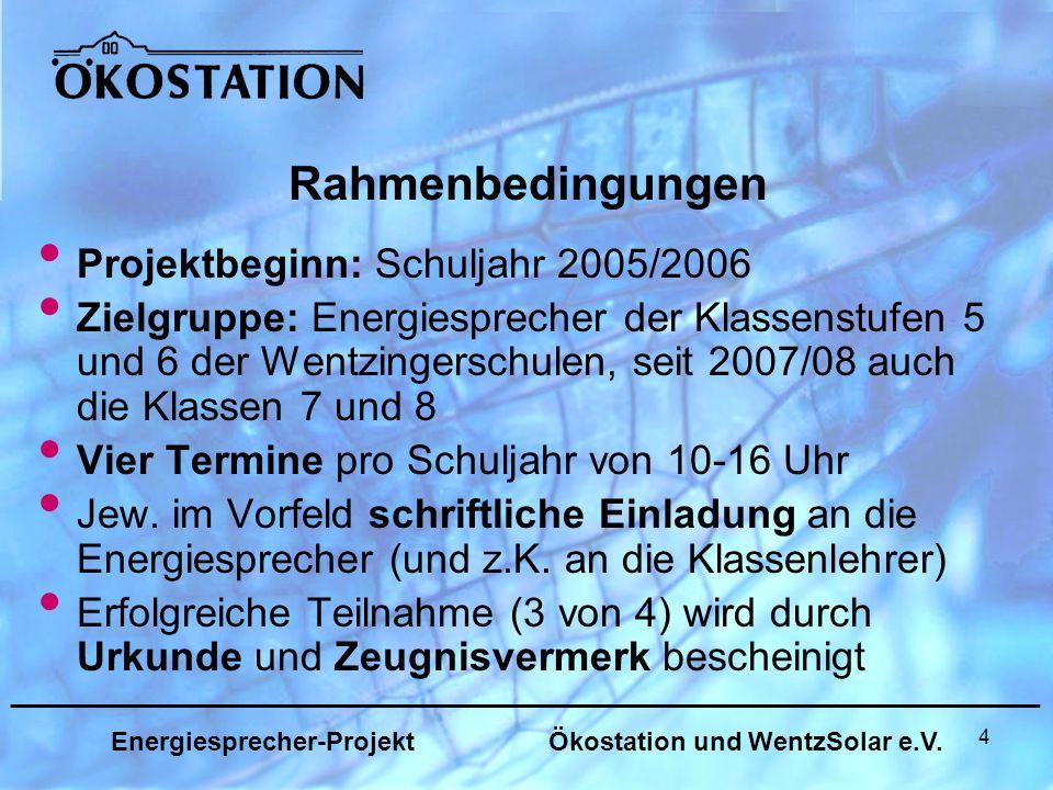 25 _______________________________________________________________ Energiesprecher-Projekt Ökostation und WentzSolar e.V.